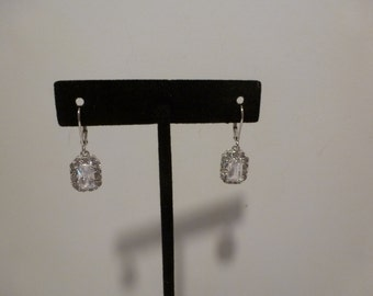 Sparkling Rhinestone Earrings Signed NYC Dangling Earrings with French Lever Backs