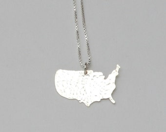United States Necklace. USA Travel Map Outline. United States of Love Shaped Jewelry. Personalized Gifts For Her Made in USA. Gifts For Mom.