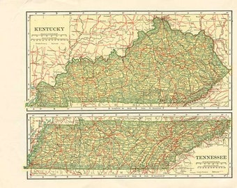 KENTUCKY TENNESSEE map - Nelson's Perpetual Loose-Leaf Encyclopedia Page