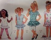 1989 Top or Dress w/Leggings & Turban Pattern Butterick 3967 Toddler Size 1-2-3. Retro RUFFLED DRESS and LEGGINGS Pattern at WhiletheCatNaps