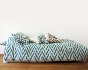 Printed duvet Aqua ZIGZAG Queen size duvets King duvet covers Double duvet Twin or custom linen cotton bedding