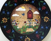 Folk Art Painting on Wood Plate, Spring Country Landscape, Birdhouse, Bunnies, Bluebirds, Flowers, Easter, Primitive,Tulips, MADE TO ORDER