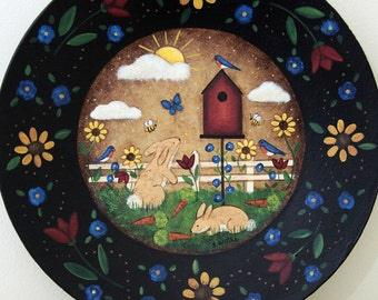 Folk Art Painting On Wood Plate Spring Country Landscape Birdhouse Bunnies Bluebirds