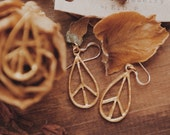 VPGE-01, repurposed vintage gold peace sign 14k gold filled earrings