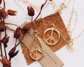 VPGN-01, repurposed vintage gold peace sign 14k gold filled chain necklace