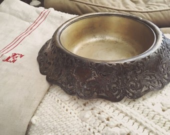 Antique Forbes S.P. Co. Silver Plated Ornate bowl Dog Bowl