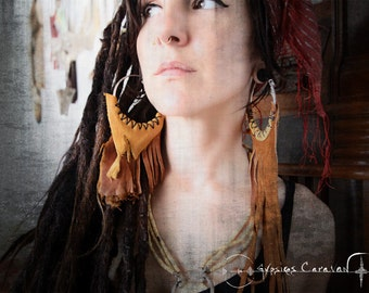 Inner Consciousness  Tribal Gypsy handmade earrings leather fringe hoop dangle
