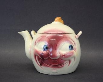 Vintage 1940s Anthropomorphic Moon Face Tea Pot (E7616)