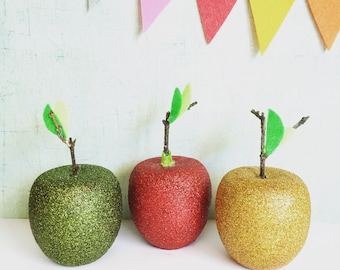 Glitter Apples/Fall Decor/set of three/wooden Apples/sparkly decor