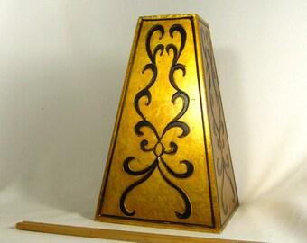 Lamp Part Pillar Tall Wood Gold Gilt Finish WIth Black Scrolls For Restoration