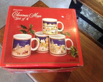 Vintage Set Of Christmas Mugs