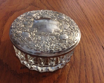 Vintage Glass And Silver Vanity Dresser Trinket Box