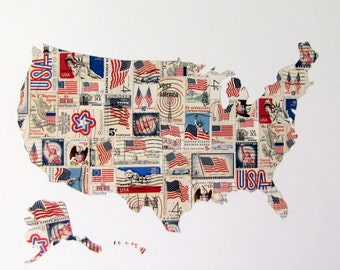USA vintage recycled flag/patriotic postage stamp map
