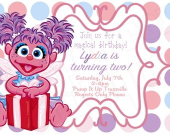 Abby Cadabby inspired birthday invitation l Sesame Street l Polka Dot l 4x6 I Instant Download