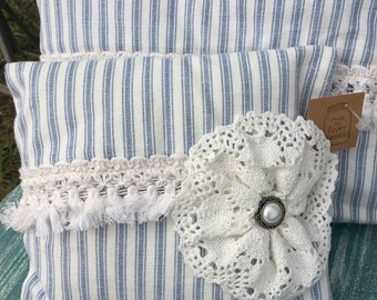 Small Blue ticking pillow with lace and fringe accents / vintage farmhouse style pillow / blue ticking pillow / ringbearer pillow / eM11