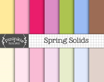 Pastel Solid Digital Paper, Pastel Plain Scrapbook Paper, Spring, Easter, Instant Download, Commercial Use