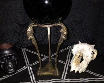 LARGE OCCULT OBSIDIAN Gazing Ball on Antique Hoofed Goat Head Stand at Gothic Rose Antiques