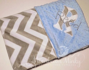 Monogrammed Baby Blanket - Chevron minky blanket,  Gray and Light Blue Personalized Gift - Soft Boy - zig zag blanket with name, birth stats