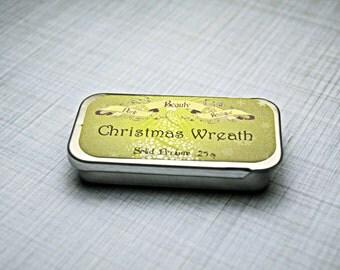 Solid Perfume - Christmas Wreath - Perfume Crème Tin - Fir, Oranges, Evergreens, Smoke and Fireplace