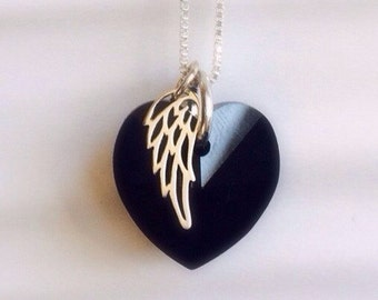 Memorial Necklace - Memorial Jewelry - Swarovski ®Elements Crystal Black Angel Wing Necklace - Black Crystal