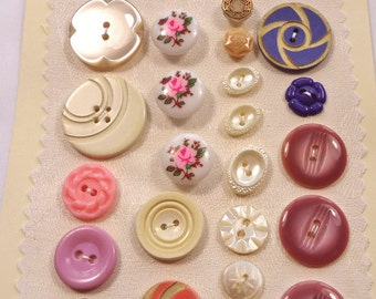 Vintage buttons - pink, cream, and mauve - very pretty  (Ref A14)