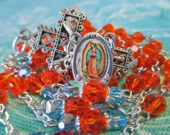 HandmadeCatholic Rosary, 6mm Swarovski Crystal Red Topaz Beads, OLO Guadalupe Color Center, Lattice Crucifix