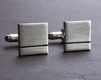 Mens gift, Cufflinks, silver cufflinks,Square Silver Cufflinks, Mens Sterling Silver Cuff links, cufflink gift, various thickness cufflinks,