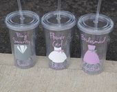 1 Plastic tumblers for Flower girl or Ring Bearer.  Tumblers with lid and straw, wedding party glasses. Jenna sue font. BPA Free