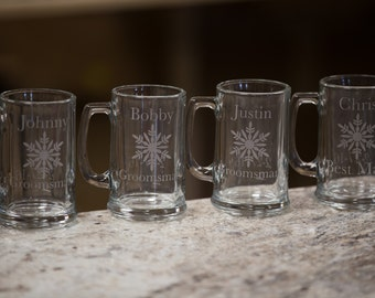 1 Etched beer mugs with snowflake, Gift for Groomsman, best man beer glasses, sand blasted, engraved for winter wedding. Christmas gift idea