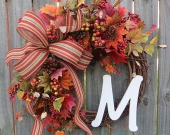 Fall wreaths wreaths for fall autumn door wreath initial wreath berry leaf wreath front door wreath burlap bow Thanksgiving fall door