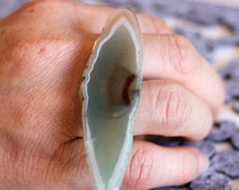 Agate slice ring