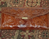Vintage 1960's Mexico Hand Tooled Leather Wallet Mayan Calendar and Mayan Pyramid Glove soft Leather