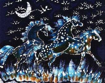 Horses Frolic on Starlight Nite  -  art print from original batik