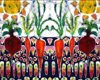 "Batik - Summer Sun on Garden - 10"" x 36"" fabric swatch  from original batik"