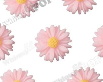 10 - Pink Small Gerber Daisy Sunflower Resin Cabochons, Daisy Cabochons, Sunflower Cabochons, Flower Cabochons, 13mm x 4mm (R8-196)