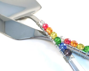 Rainbow beaded wedding cake knife server serving set, wedding set, rainbow, cake and knife set, rainbow crystals, brides on a budget, LGBT