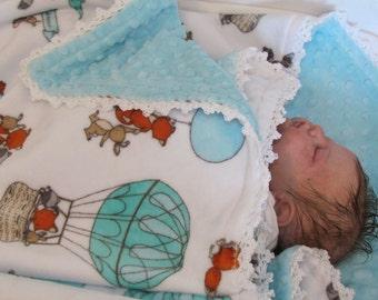 Minky baby blanket- Fox minky blanket- Bunny minky blanket-Racoon minky blanket-Air balloon minky blanket-crib minky blanket-toddler blanket