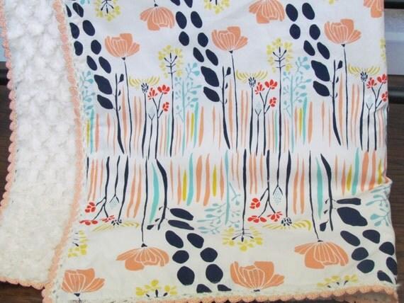 Baby blanket- Art gallery fabric- crib minky blanket- vintage inspired baby blanket- toddler blanket- toddler minky blanket-baby shower gift