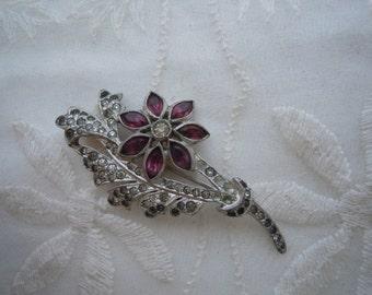 Vintage Rhinestone Flower Brooch Clear & Purple Rhinestones Pin