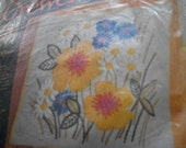 Summer Blossoms Crewel Embroidery Kit: Comes with Fabric, Yarn, Needles, Zipper, Chart & Directions