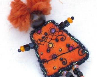 Mixed Media Brooch, Orange Black Girlfriend