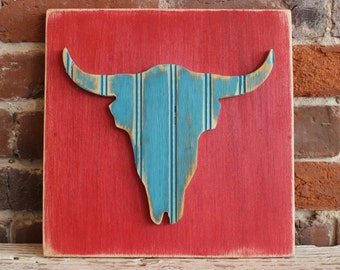 Steer, Wooden Wall Art, Distressed Antique Red and Aqua Bead Board, Southwestern Wall Art