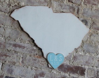 Custom Wooden State Wedding Guestbook - 2 ft South Carolina in Distressed White - any state/country available in many colors