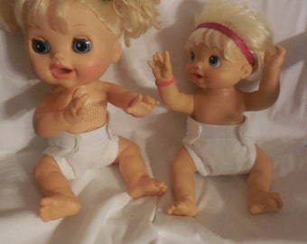 Ready to Ship SIZE #2 Doll Diaper white adjustable washable fits luvabella bitty baby some baby alive American Girl doll and stuffed animals