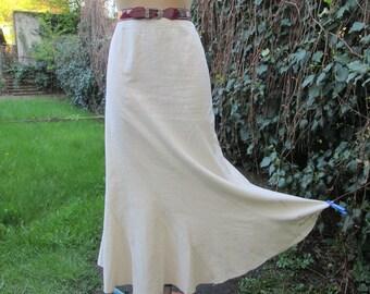Long Linen Skirt Vintage / Maxi / Cream / Ivory / SizeEUR 44 / 46 UK16 / 18