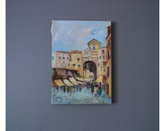 Vintage Oil Painting French European Antique Buildings Landscape Small Signed Original Wood Canvas No Frame Good Condition