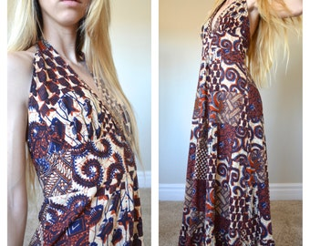 Vintage Halter Maxi Dress Cotton Batik Dashiki Islander Hippie Patchwork 1960s Metal Zipper Tie Neck Tribal Ethnic Gypsy Natural Color Henna
