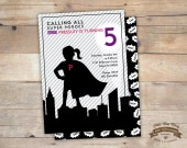 Super Hero Girl Birthday, Baby Shower, Invites, 5x7, - DIY Printables