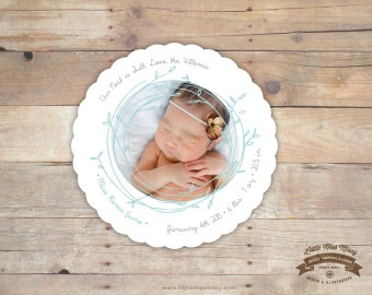 Baby Announcement, Baby Shower Invite, Wedding, Christmas Card, Nest, Leaves, 5x7, DIY Printable