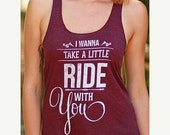 PRESIDENTS DAY SALE I Wanna Take A Little Ride With You | Tri-Cranberry Racerback Tank Top  | Women's Country Lifestyle Apparel